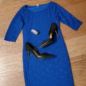Blue Lace Fitted Dress Maternity Pinkblush Medium